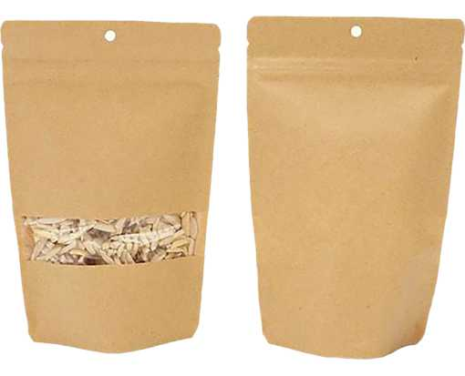 5 1/8 x 3 1/8 x 8 1/8 Stand Up Zipper Pouch w/ Rectangle Window & Hang Hole (Pack of 100) Brown Kraft