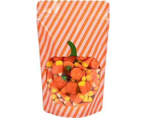 5 1/8 x 3 1/8 x 8 1/8 Stand Up Zipper Pouch with Hang Hole (Pack of 25) Pumpkin Orange & White Stripes