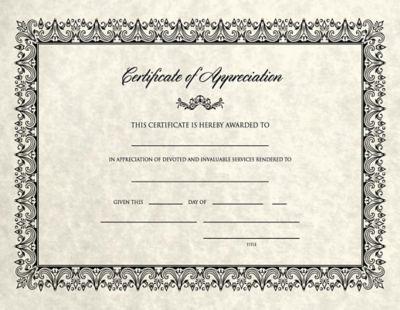 8 1/2 x 11 Certificates - Appreciation Cream Parchment - Appreciation