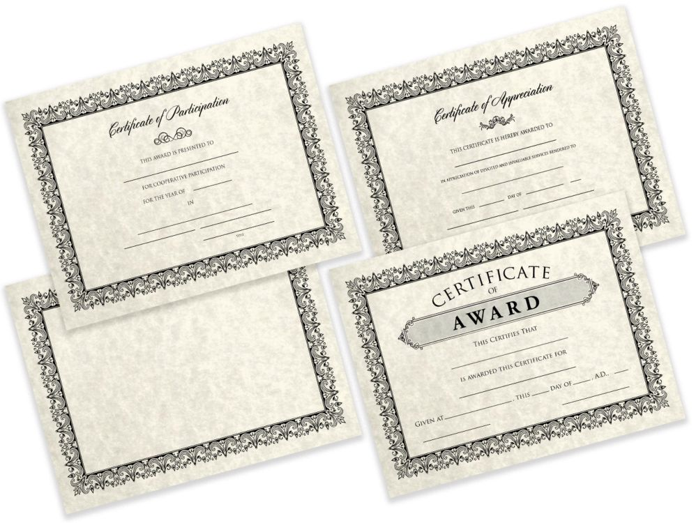 8 1/2 x 11 Certificates - Award Cream Parchment - Award