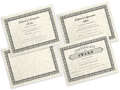 8 1/2 x 11 Certificates - Blank Cream Parchment - Blank