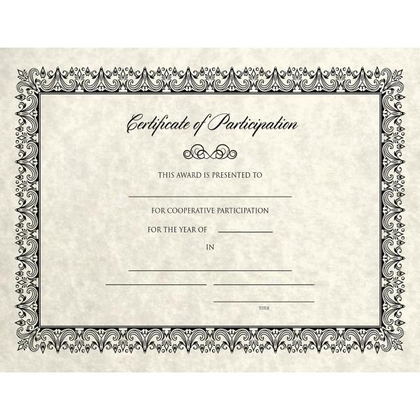 8 1/2 x 11 Certificates - Participation Cream Parchment - Participation