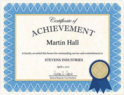 8 1/2 x 11 Customizable Award Certificates Kit Blue