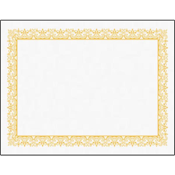 8 1/2 x 11 Certificates White w/ Yellow Border