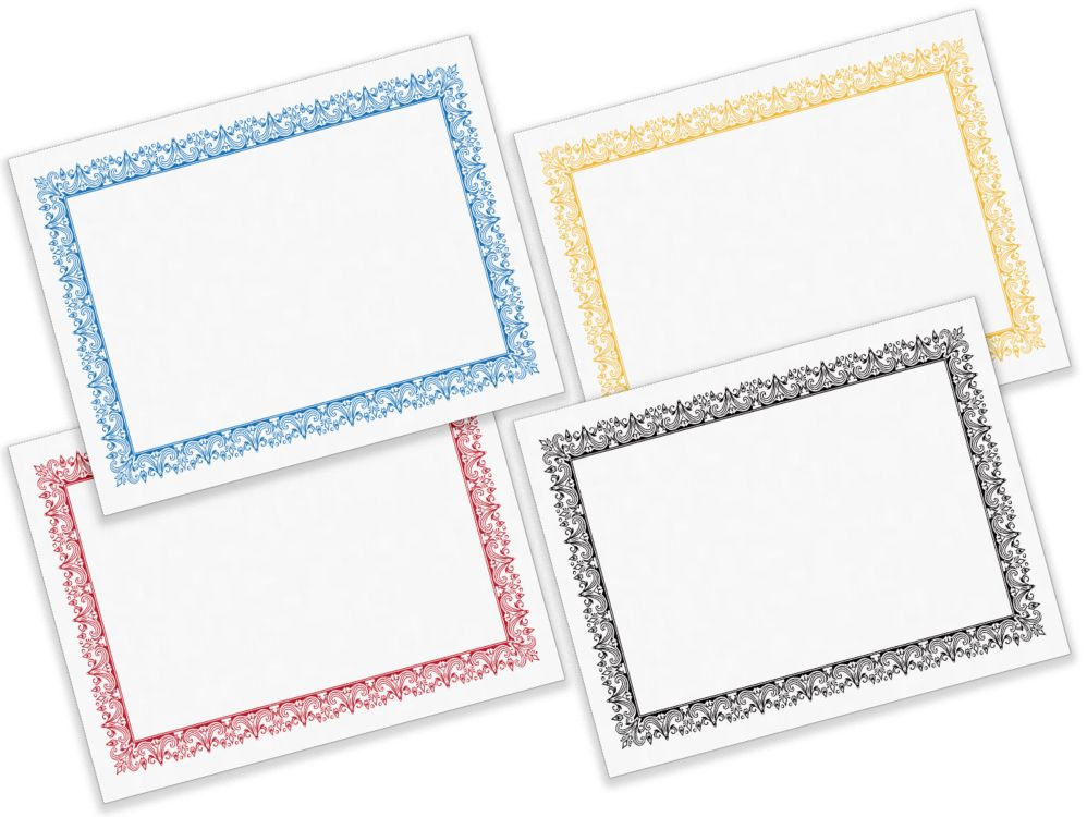 8 1/2 x 11 Certificates White w/ Red Border