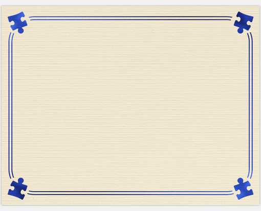 8 1/2 x 11 Certificates - Puzzle Piece Border Natural Linen w/ Blue Puzzle Border