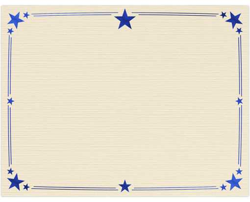 8 1/2 x 11 Certificates - Stars Natural Linen w/ Blue Star Foil