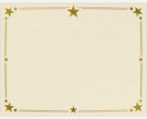 8 1/2 x 11 Certificates - Stars Natural Linen w/ Gold Star Foil