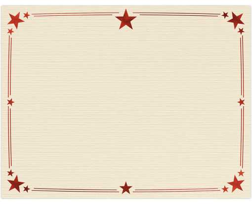 8 1/2 x 11 Certificates - Stars Natural Linen w/ Red Star Foil