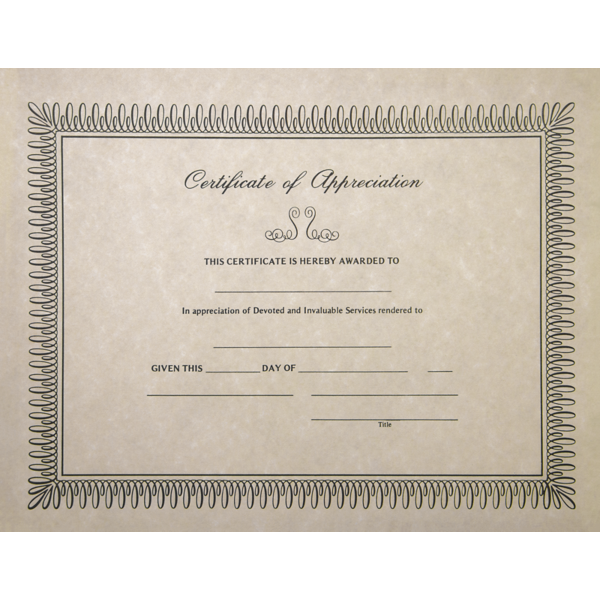 8 1/2 x 11 Certificates - Appreciation Natural - Appreciation