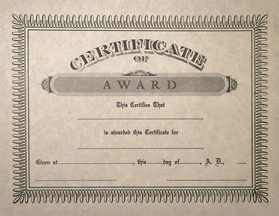 8 1/2 x 11 Certificates - Award Natural - Award