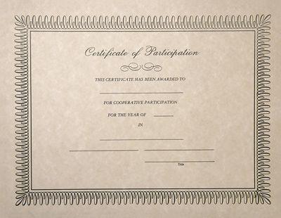 8 1/2 x 11 Certificates - Participation Natural - Participation