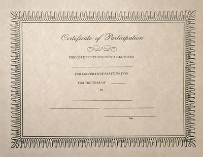 8 1/2 x 11 Certificates - Participation Natural - Participation