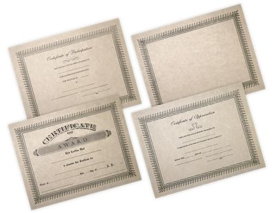 "Our pre-printed Certificates are a classic way to reward a job well done. Measuring 8 1/2"" x 11"" and printed on high-quality, natural colored off-white parchment paper. The certificates will fit perfectly in standard 9""x12"" certificate holders. These certificates features an elegant, classic border with sophisticated fonts."