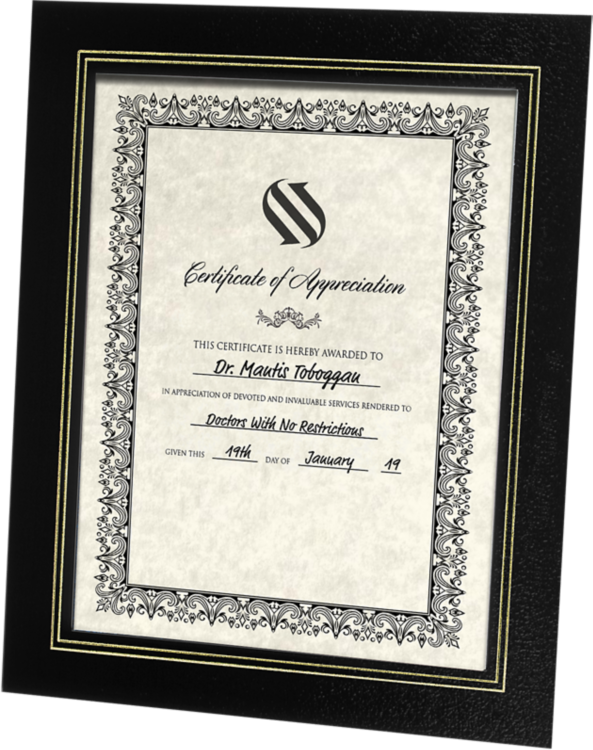 10 3/4 x 13 Certificate Frame w/ Easel Black Texture