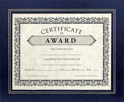 10 3/4 x 13 Certificate Frame w/ Easel Navy Print