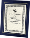 10 3/4 x 13 Certificate Frame w/ Easel Navy Print