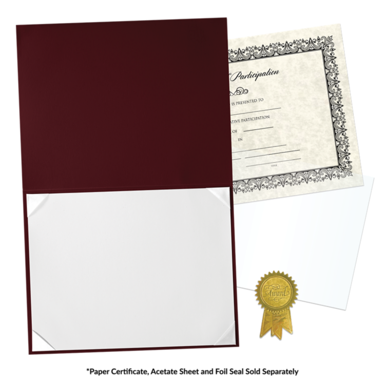 8 1/2 x 11 Leatherette Certificate Holders Maroon