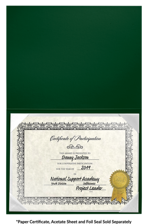 6 x 8 Leatherette Certificate Holders Dark Green