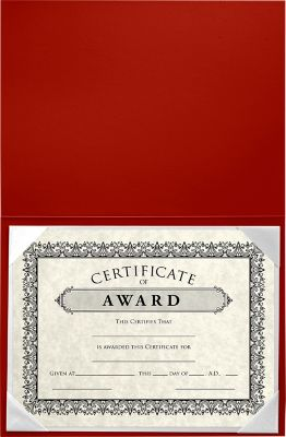 6 x 8 Leatherette Certificate Holders Red
