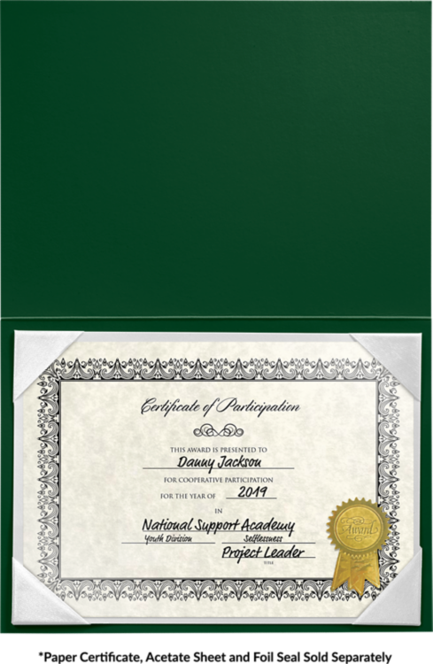 5 x 7 Leatherette Certificate Holders Dark Green