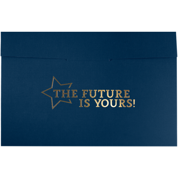 6 1/2 x 9 1/2 Future Is Yours Certificate Holders Nautical Blue Linen