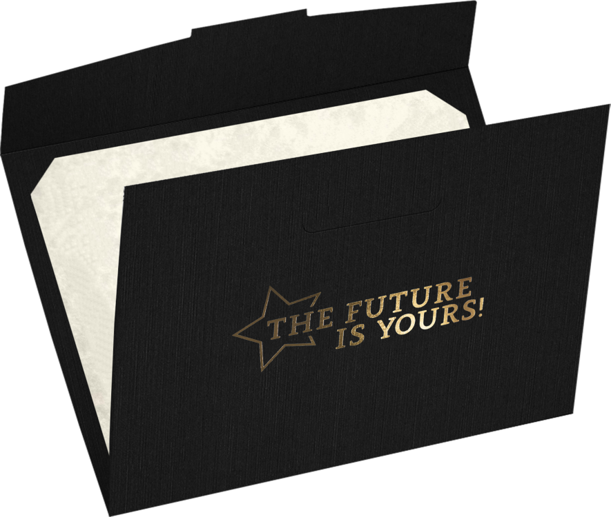 6 1/2 x 9 1/2 Future Is Yours Certificate Holders Black Linen