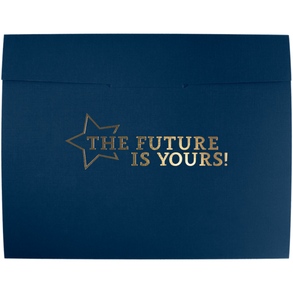 9 1/2 x 12 Future Is Yours Certificate Holders Nautical Blue Linen