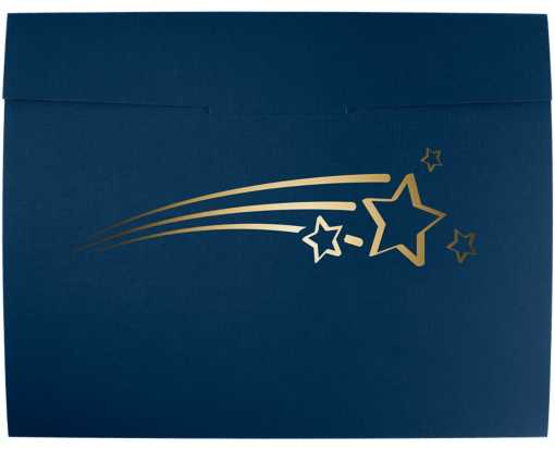 9 1/2 x 12 Shooting Stars Certificate Holders Nautical Blue Linen