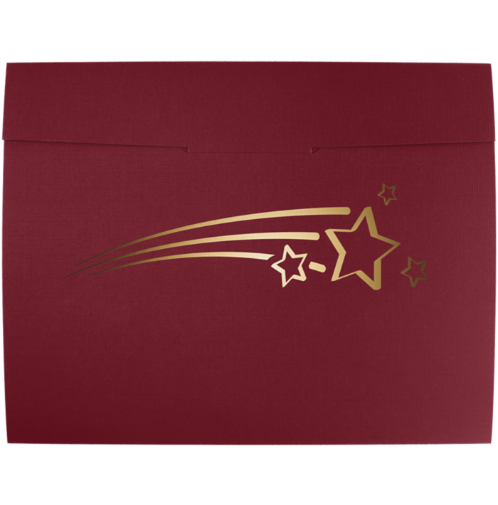9 1/2 x 12 Shooting Stars Certificate Holders Burgundy  Linen