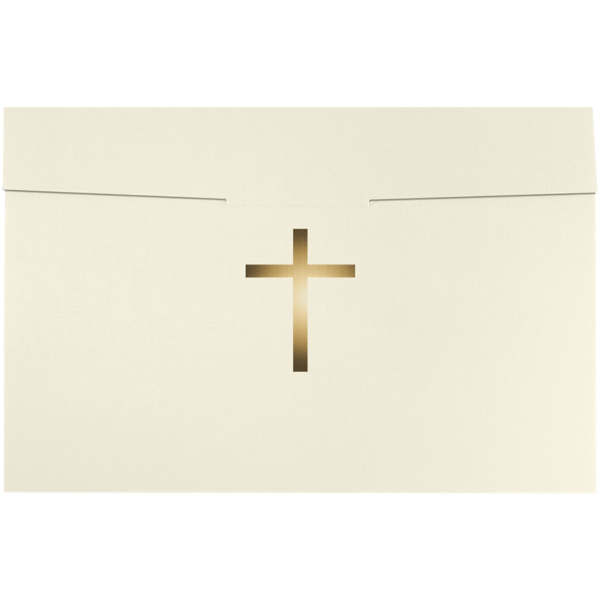 6 1/2 x 9 1/2 Cross Certificate Holders Natural Linen w/ Gold Foil
