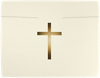 9 1/2 x 12 Cross Certificate Holders Natural Linen w/ Gold Foil