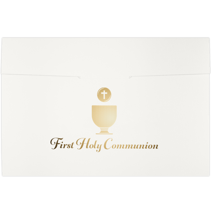 6 1/2 x 9 1/2 First Holy Communion Certificate Holders White Linen w/ Gold Foil