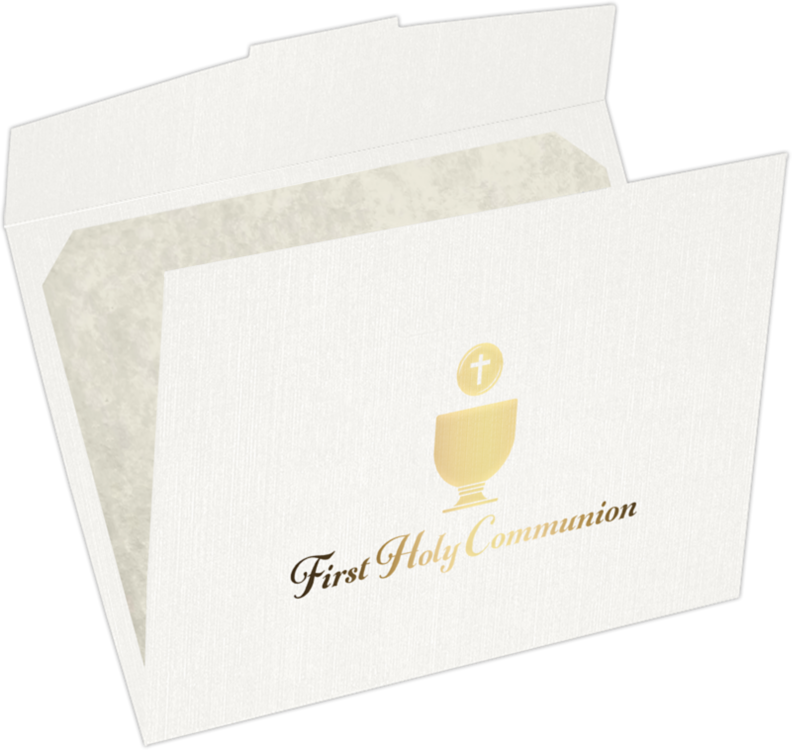 9 1/2 x 12 First Holy Communion Certificate Holders White Linen w/ Gold Foil