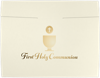 9 1/2 x 12 First Holy Communion Certificate Holders Natural Linen w/ Gold Foil