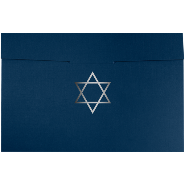 6 1/2 x 9 1/2 Star of David Certificate Holders Nautical Blue Linen w/ Silver Foil