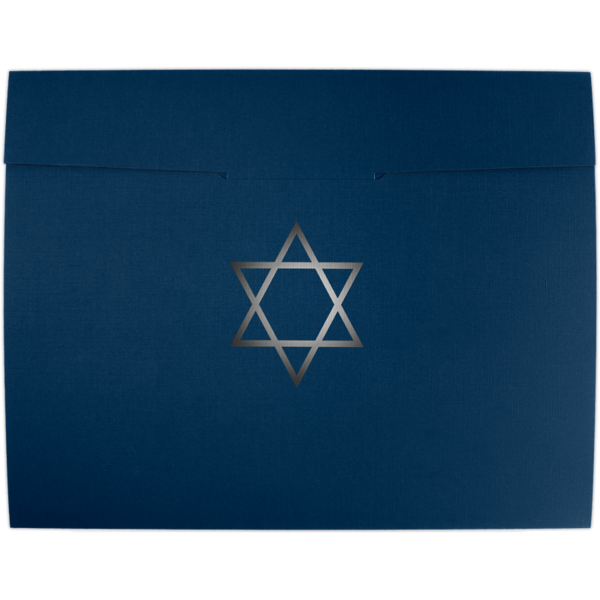 9 1/2 x 12 Star of David Certificate Holders Nautical Blue Linen w/ Silver Foil