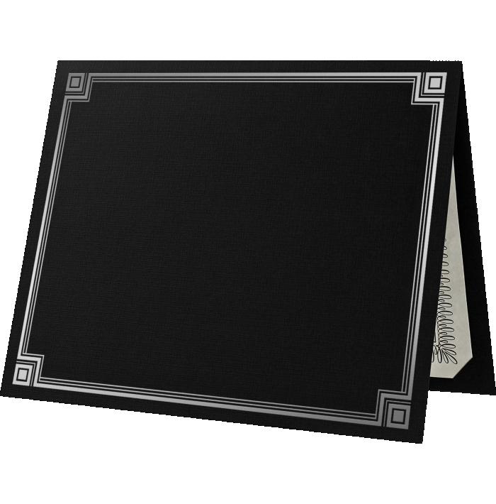 9 1/2 x 12 Certificate Holders Black Linen w/ Silver Foil