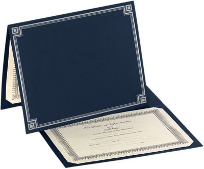 9 1/2 x 12 Certificate Holders Nautical Blue Linen w/ Silver Foil