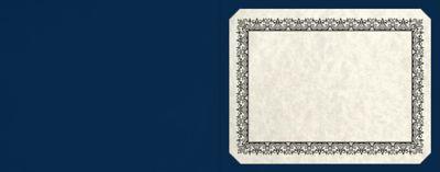 Short Hinge Landscape Certificate Holder Inkwell Blue