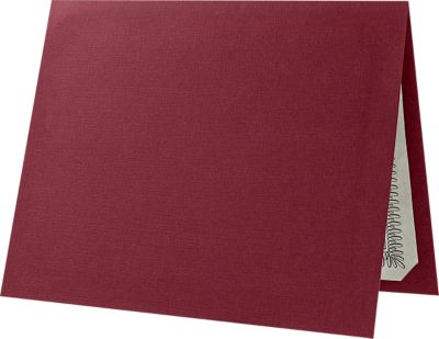 "Certificate Holders in Burgundy Linen measure 9 1/2 x 12 and are constructed to hold 8 1/2"" x 11"" size award certificates or documents. Inserts are kept in place by a die-cut slit in each of the four corners inside of the certificate holder. Made from thick, durable 100lb. cover stock in a deep, classic red color with a elegant linen texture. A professional, classic way to show off all awards and certificates in both landscape and portrait orientation."