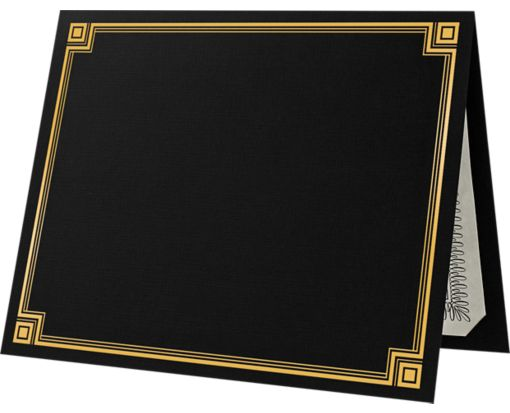 9 1/2 x 12 Certificate Holders Black with Gold Foil