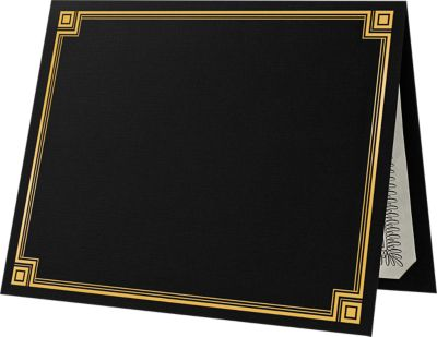 9 1/2 x 12 Certificate Holders Black Linen w/ Gold Foil