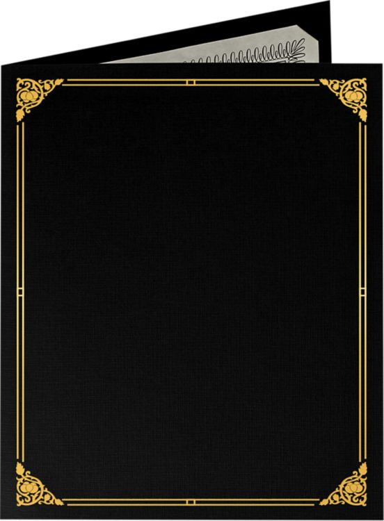 9 1/2 x 12 Certificate Holders Black Linen - Gold Foil Floral Border