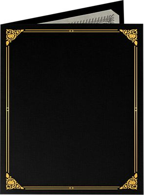 9 1/2 x 12 Certificate Holders Deep Black Linen - Gold Foil Floral Border