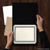 9 1/2 x 12 Certificate Holders Black Linen - Silver Foil Floral Border