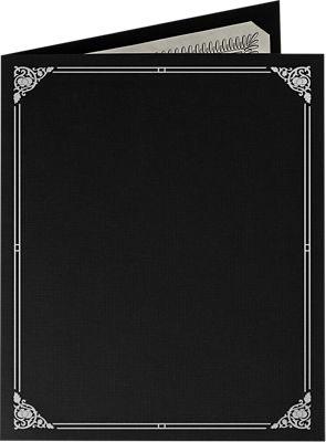 9 1/2 x 12 Certificate Holders Deep Black Linen - Silver Foil Floral Border