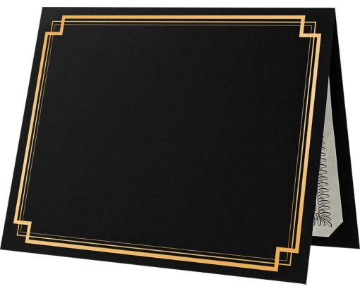 9 1/2 x 12 Certificate Holders Black Linen - Gold Foil Square Border