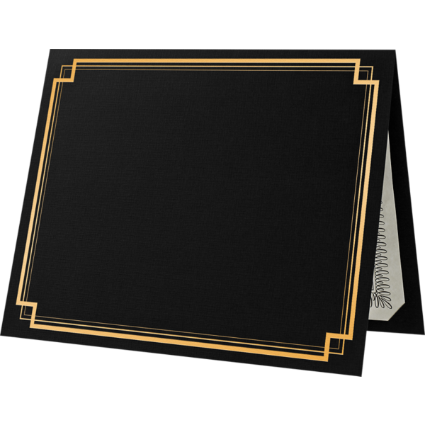 9 1/2 x 12 Certificate Holders Deep Black Linen - Gold Foil Square Border