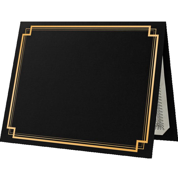 9 1/2 x 12 Certificate Holders Black Linen - Gold Foil Square Border